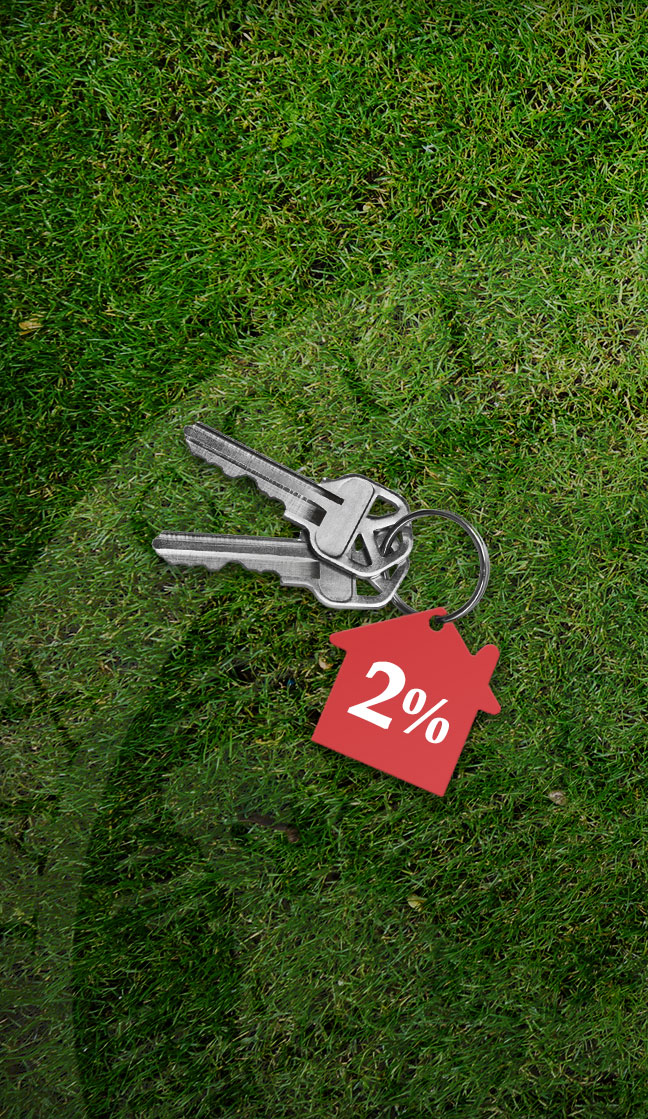 Keys on a grass with 2% tag on
